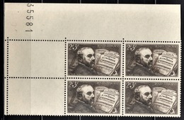 FRANCE 1942 - BLOC DE 4  TP Y.T. N° 542 - COIN DE FEUILLE NEUFS** - Unused Stamps