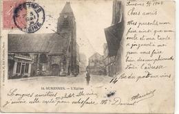 SURESNES . L'EGLISE . PETITES TRACES DE PLI . AFFR LE 2/5/1904 SURRECTO . DOS NON DIV - Suresnes