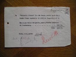 LITHUANIA Bill Fondamentas Pranas Rimsa Kaunas 1925 - Invoices & Commercial Documents