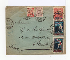 Sur Enveloppe 5 Timbres Lettonie Oblitérés Riga 1921, Dont Un 50 K. Rose Avec Surcharge DIVI 2 Pub 2. (632) - Lettonie