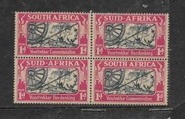 S.Africa 1938, Voortrekker Commemoration, 1d, Three Rivets In Wheel Error In Block Of 4, MNH * *, Toned - Unused Stamps