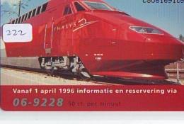 NEDERLAND CHIP TELEFOONKAART CRD-222 * THALYS * TREIN * TRAIN *  Telecarte A PUCE PAYS-BAS ONGEBRUIKT  MINT - Trains