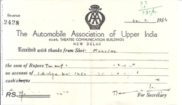 INDE-RECU -THE AUTOMOBILE ASSOCIATION OF UPPER INDIA NEW DELHI 2428   1954 - Invoices & Commercial Documents