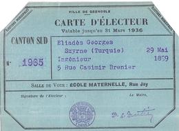 CARTE D'ELECTEUR 1936- GRENOBLE  ECOLE MATERNELLE RUE JAY  CANTON SUD - Maps
