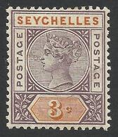 Seychelles, 3 C, 1893, Scott # 3, Mi # 14, MH. - Seychelles (...-1976)