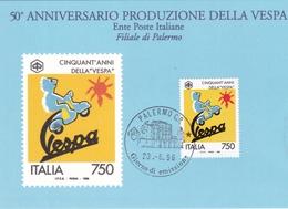 CARTOLINA FDC DEL 50° ANNIVERSARIO DELLA VESPA DELLA FILIALE DI POSTE ITALIANE A PALERMO - Palermo