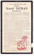 DP Handelaar Karel Deman ° Klerken Houthulst 1865 † Brugge 1929 - Images Religieuses