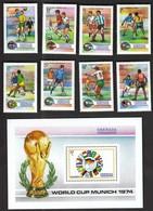 Grenada Grenadines / Football, Soccer / World Cup Germany 1974 / Michel 17-24 + Bl 2 - Fußball-Weltmeisterschaft