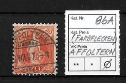 1882-1904 STEHENDE HELVETIA → SBK-86A / Affoltern (Farbflecken Auf Dem Gesamten Bild) - 1882-1906 Armoiries, Helvetia Debout & UPU