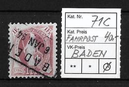 1882-1904 STEHENDE HELVETIA → SBK-71C Baden (Fahrpoststempel) - 1882-1906 Armoiries, Helvetia Debout & UPU