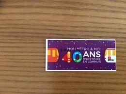 "Ticket De Transport ** (Bus, Métro, Tramway) TCL ""40 Ans"" LYON (69) Neuf - Bus"