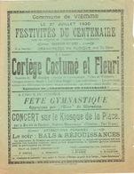 Affiche 27 Juillet 1930 VIEMME - Festivités Du Centenaire - Cortège Costumé & Fleuri, Fête Gymnastique, Concert, Bal... - Affiches