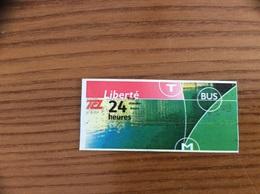 "Ticket De Transport *x (Bus, Métro, Tramway) TCL ""24 Heures"" LYON (69) - Bus"