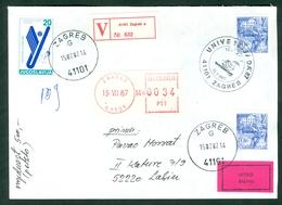 Yugoslavia 1987 Universiade Olympics Rowing Mascot Squirrel Zagreb Cover Valuable Express Letter - 1945-1992 Repubblica Socialista Federale Di Jugoslavia