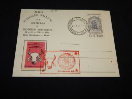 Brazil 1955 Exposicao Nacional Animais Cancellation Card__(L-23485) - Lettres & Documents