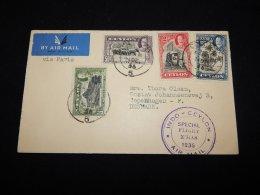 Ceylon 1936 Special Flight Xmas Cover To Denmark__(L-20359) - Ceylan (...-1947)