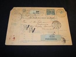 Czechoslovakia 1922 Slak-Schlag Parcel Card Denmark__(L-24107) - Tchécoslovaquie