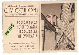 Liguria-genova-chiavari Corso Garibaldi Stabilimento Civicchioni Pubblicita Anni 40 (calendario 1940 Vedi Retro) - Italia