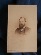 Photo CDV D. Camus à Nogent/Seine - Second Empire Portrait Nuage Homme Barbu, M. Langlois , Vers 1860 L389F - Foto