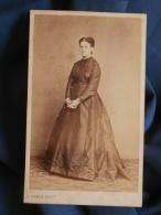 Photo CDV D. Camus à Nogent/Seine - Second Empire Femme En Pied, Marguerite Langlois Vers 1860 L389F - Foto
