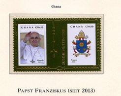 FRANCOBOLLI FOGLIETTI POSTAGE STAMP PAPA FRANCESCO PAPA GHANA 2013 DORATO POPE FRANZISKUS - Pausen