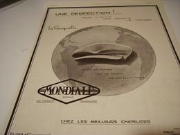 ANCIENNE PUBLICITE UNE PERFECTION CASQUETTE MONDIALE   ELINA 1923 - Vintage Clothes & Linen