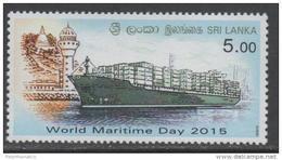 SRI LANKA, 2015, MNH,SHIPS, WORLD MARITIME DAY, LIGHTHOUSES, 1v - Bateaux