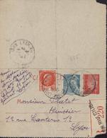 Entier Carte Lettre 1F Rouge Pétain Recommandée R220 Lyon YT 521 538 CAD Lyon ? Rhône 9 8 42 - Enteros Postales