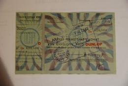 Rationnement - Billet Matiere Enveloppe Velo Dunlop Tres Rare Complet - Documents Historiques