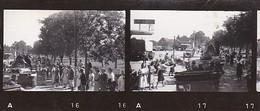 2 Fotos - Deutsche Soldaten Bei Fahrt Durch Stadt - Bevölkerung Am Straßenrand - Panzer LKW - 2. WK - 8*3,5cm (36309) - Krieg, Militär