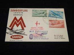 Germany (Democratic Republic) 1956 Sabena First Flight Leipzig-Moscow__(L-23714) - DDR