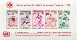 Dominican Republic MNH Overprinted Perforated And Imperforated SSs For The Victims Of The Communism In Hungary - Dominican Republic