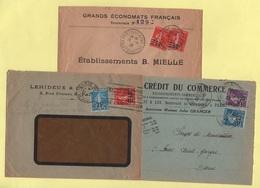 Lot De 3 Lettres Affranchissements Type Semeuses Surchargees - 1921-1960: Modern Period
