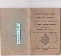 Vieux Papier:  Fédération Nat. Des Sapeurs Pompiers Paris  Manuel Des Concours 1937 ( Joué Du Bois  Orne  Tampon) - Unclassified