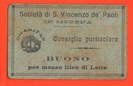 Modena San Vincenzo BUONI CARITATEVOLI Da 1/2 Litro Di Latte Charitable Good Bienfaisance Wohltätiges Gut - Italie