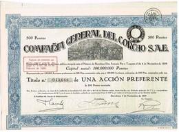 Ancienne Action - Compañia General Del Corcho - Titre De 1929 - N° 043666 - Mijnen