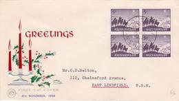 Australia 1959 Christmas,Wesley FDC, Block 4 - FDC