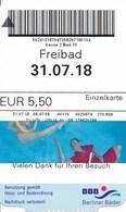 Berlin 2018 Eintrittskarte Berliner Bäder Schwimmer - Eintrittskarten