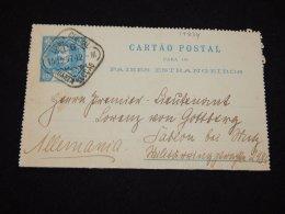 Portugal 1897 50r Blue Stationery Card To Germany__(L-19834) - Interi Postali