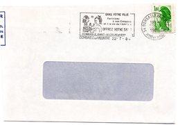 MEURTHE & MOSELLE - Dépt N° 54 = DOMBASLE 1986 = FLAMME SECAP Illustrée AMOUREUX De PEYNET' OFFREZ Votre SANG ' - Codice Postale