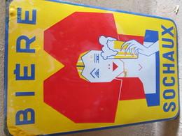 PLAQUE EMAILLEE  BIERE SOCHAUX  37cms/59cms - Signs