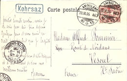 Schweiz, 23.9.1905, Ambulant, AK Kehrsaz (Kehrsatz) Im Kasten Blau, Nach Vesoul France, Siehe Scans! - Switzerland