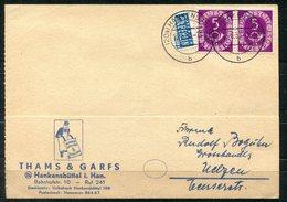 4133 - BUND - Waagerechtes Paar Der Mi.Nr. 125, Portogerechte Bedarfs-Firmenkarte Thams & Garfs, Hankensbüttel - Briefe U. Dokumente