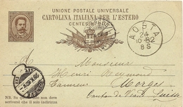 Schweiz, 28.10.1882, PK Aosta-Morges,mit Trasit Sackstempel Genf !!!!!!!!!!!! Siehe Scans! - 1882-1906 Armoiries, Helvetia Debout & UPU