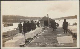 Ice Cutting, Red River, Winnipeg, Manitoba, 1911 - AZO RPPC - Winnipeg