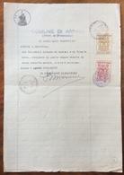 COMUNE DI ARPINO FROSINONE DOCUMENTO IN CARTA BOLLATA E MARCHE COMUNALI IN DATA  8/8/1940 - Manoscritti
