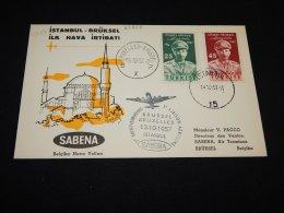 Turkey 1957 Sabena First Flight Istanbul-Bruxelles__(L-23855) - 1921-... Republic