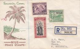 NEW ZEALAND NIUE 1946 - Schöne 3 Fach Frankierung Auf R-Brief Gel.n.N.Rhodesia - 1907-1947 Dominion