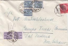 RRR! ITALIEN NACHPORTO 1939 - 3x10 + 2x50 C NACHPORTO + 12 RPf DR Auf Brief Gel.v. Österreich > Tures - 1900-44 Victor Emmanuel III.