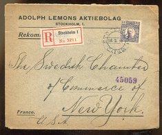 Schweden / 1915 / Reco-Brief EF In Die USA (17192) - Schweden